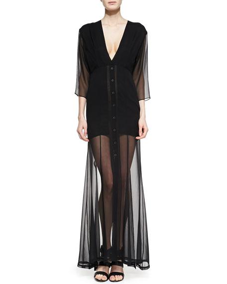 Dekka Solid/Sheer Long Dress