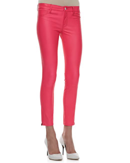 J Brand Jeans Mid-Rise Leather Capri Pants