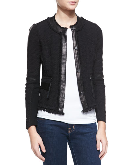 Tweed Lambskin Leather-Trim Blazer