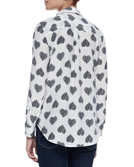 192d0262df5196 Equipment Slim Signature Heart-Print Silk Blouse