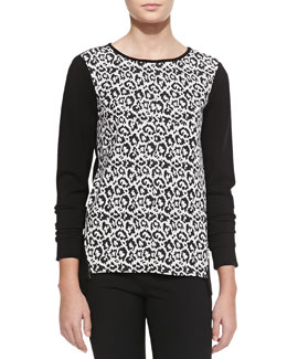 Tibi Long-Sleeve Leopard-Print Sweater