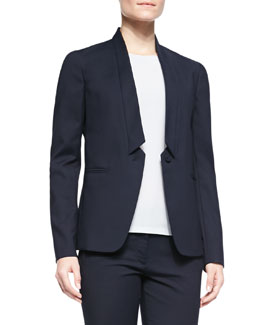 Joseph Marleybone Inverted-Collar One-Button Jacket, Navy