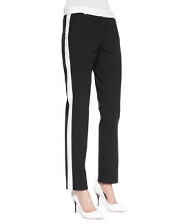 Ben Contrast Smoking Pants, Black/White