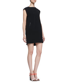 Rag & Bone Nevis Leather-Trim Shift Dress