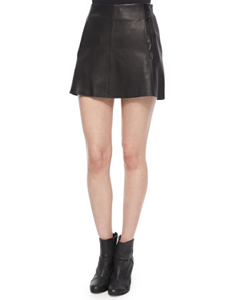 Florencia Lambskin Leather Skirt