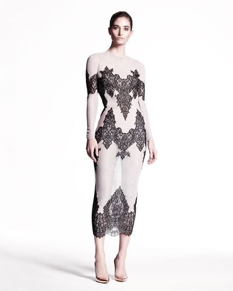 Lace-Embroidered Tulle Cocktail Dress