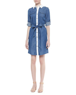 Tory Burch Brigitte Contrast Tie Waist Dress, Rinse Blue/White