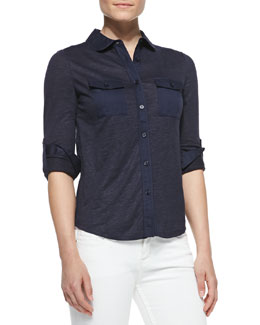 Tory Burch Tinley Long-Sleeve Button-Down Shirt, Navy