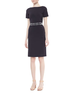 Tory Burch Sonia Button Sheath Dress, Navy