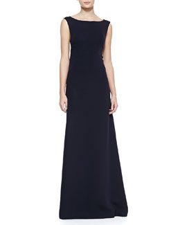 Tory Burch Annette Boat-Neck Silk Gown