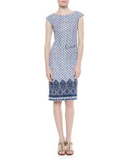 Tory Burch Jamie Cap-Sleeve Sheath Dress, Border Coast