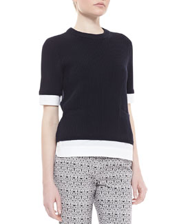 Tory Burch Rosemary Twofer 3/4-Sleeve Sweater, Navy/White