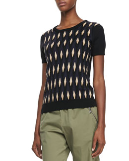 MARC by Marc Jacobs Diamond-Print Short-Sleeve Sweater