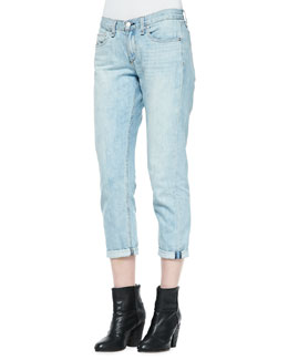 rag & bone/JEAN Oldmans Light-Wash Cropped Boyfriend Jeans