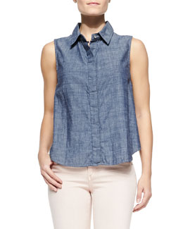 rag & bone/JEAN Sleeveless Chambray Tent Blouse