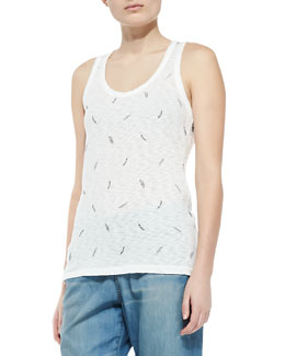 rag & bone/JEAN Feather-Print Beater Tank Top