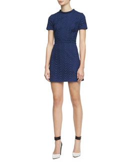 Victoria Beckham Denim Wavy Eyelet Short-Sleeve Dress