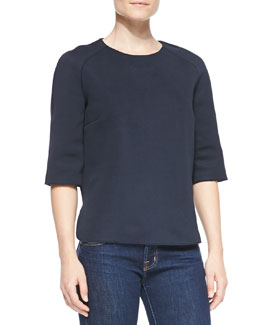 Victoria Beckham Denim Japan Elbow-Sleeve Top, Navy