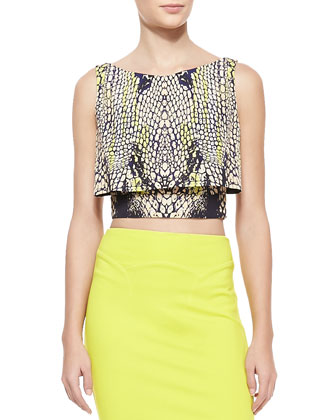 Crocodile-Print Layered Party Crop Top