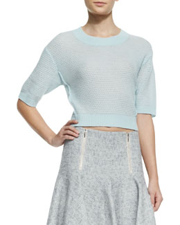 Rebecca Taylor Cashmere Textured Cropped Sweater
