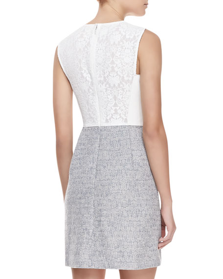 Sleeveless Leather & Tweed Dress, White/Shark Gray
