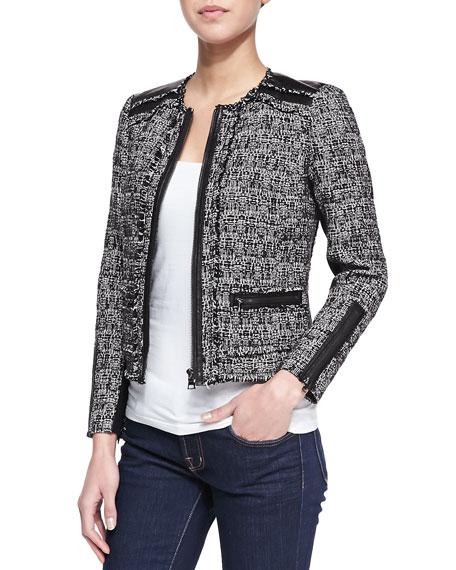 883489ed6b56 Rebecca Taylor Long-Sleeve Tweed Jacket with Leather Trim, Black