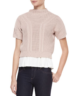 Rebecca Taylor Short-Sleeve Mock-Neck Cropped Sweater, Bubble Pink