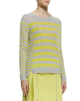 Rebecca Taylor Striped Rib-Trim Cashmere Sweater