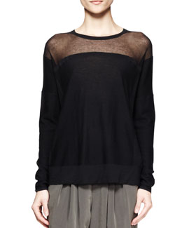 Helmut Lang Sheer-Panel Knit Sweater
