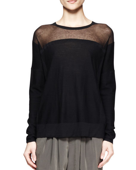 Sheer-Panel Knit Sweater