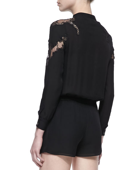 Lace-Inset Silk Long-Sleeve Short Jumpsuit