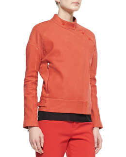 Goodall Asymmetric Snap Leather Jacket, Masai Red