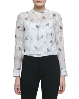 Theory Brindan Sheer Printed Silk Blouse