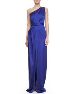 Halston Heritage One-Shoulder Satin Gown
