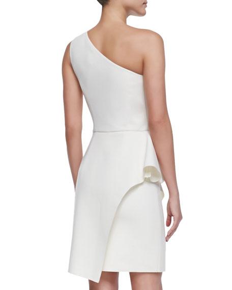 One-Shoulder Faux-Wrap Dress