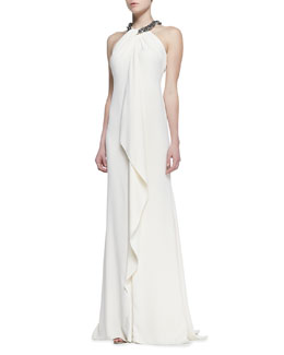 Carmen Marc Valvo Beaded Halter Draped Metallic Gown, Eggshell