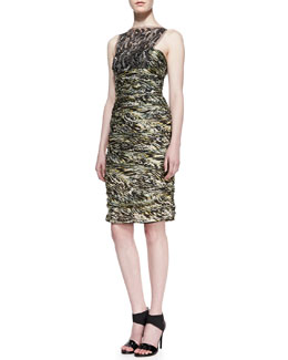Carmen Marc Valvo Sleeveless Lace Overlay Cocktail Dress, Moss