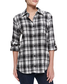 Alice + Olivia Piper Plaid Chiffon Blouse