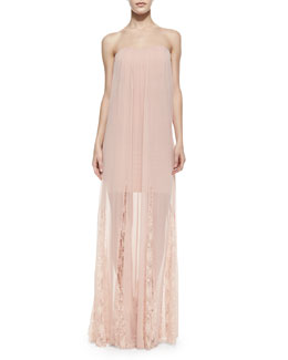 Alice + Olivia Francesca Strapless Chiffon Maxi Dress