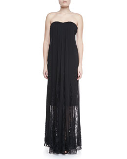 Alice + Olivia Francesca Lace-Inset Strapless Maxi Dress