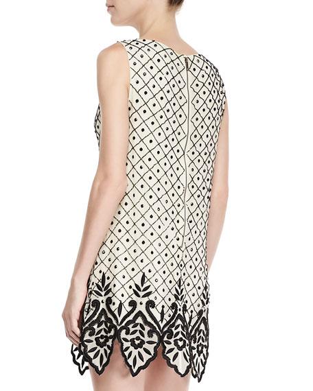 Dot Embellished Shift Dress