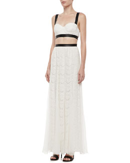 Alice + Olivia Sveva Lace-Bustier Cutout Maxi Dress