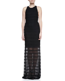 Alice + Olivia Lavinia Leather T-Back Maxi Dress