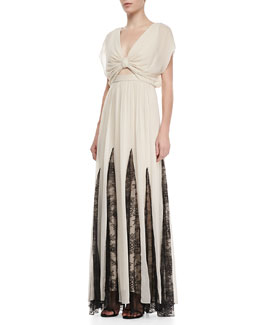 Alice + Olivia Ginevia Lace-Inset Maxi Dress