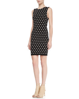 Alice + Olivia Marta Polka-Dot Fitted Dress