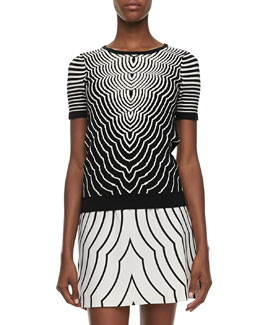 MARC by Marc Jacobs Radio Waves Crewneck Short-Sleeve Sweater