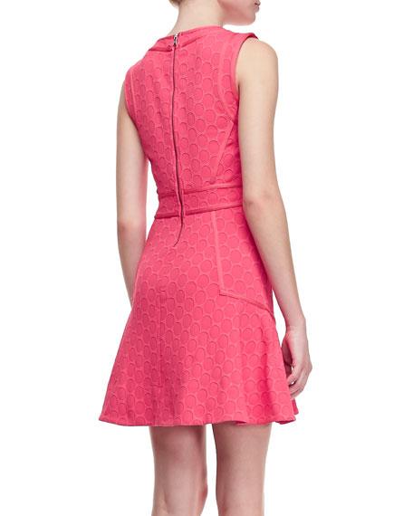 Leyna Dotted-Ponte Sleeveless Dress