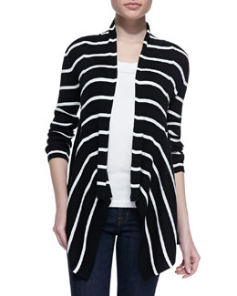 Autumn Cashmere Mixed-Stripe Ribbed-Knit Drape Cardigan