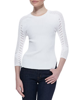 Autumn Cashmere Mixed-Design Crewneck Sweater