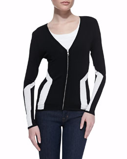 Autumn Cashmere Athletic Zip-Front Cardigan